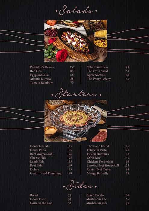 Doors Freestyle Grill resturant menu