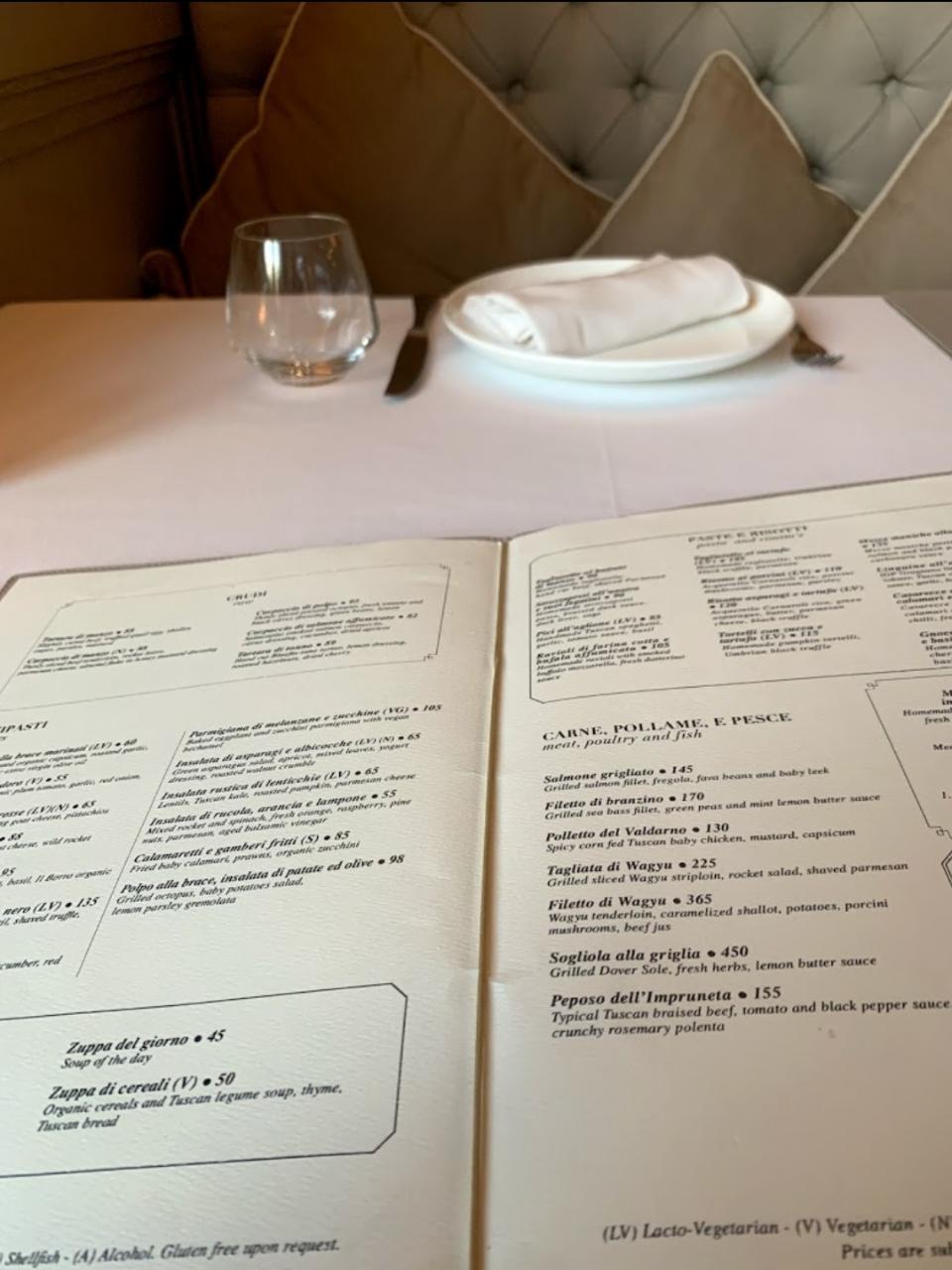 Il Borro Tuscan Bistro resturant menu