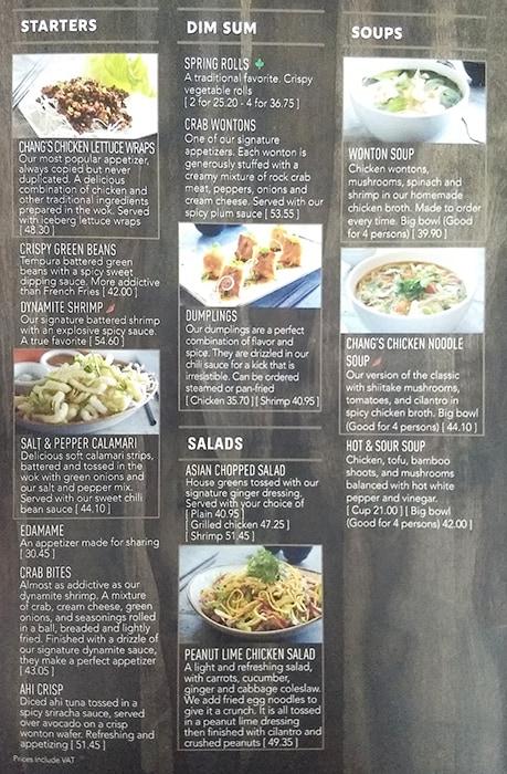 PF Changs resturant menu