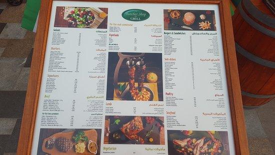 The Butcher Shop & Grill menu