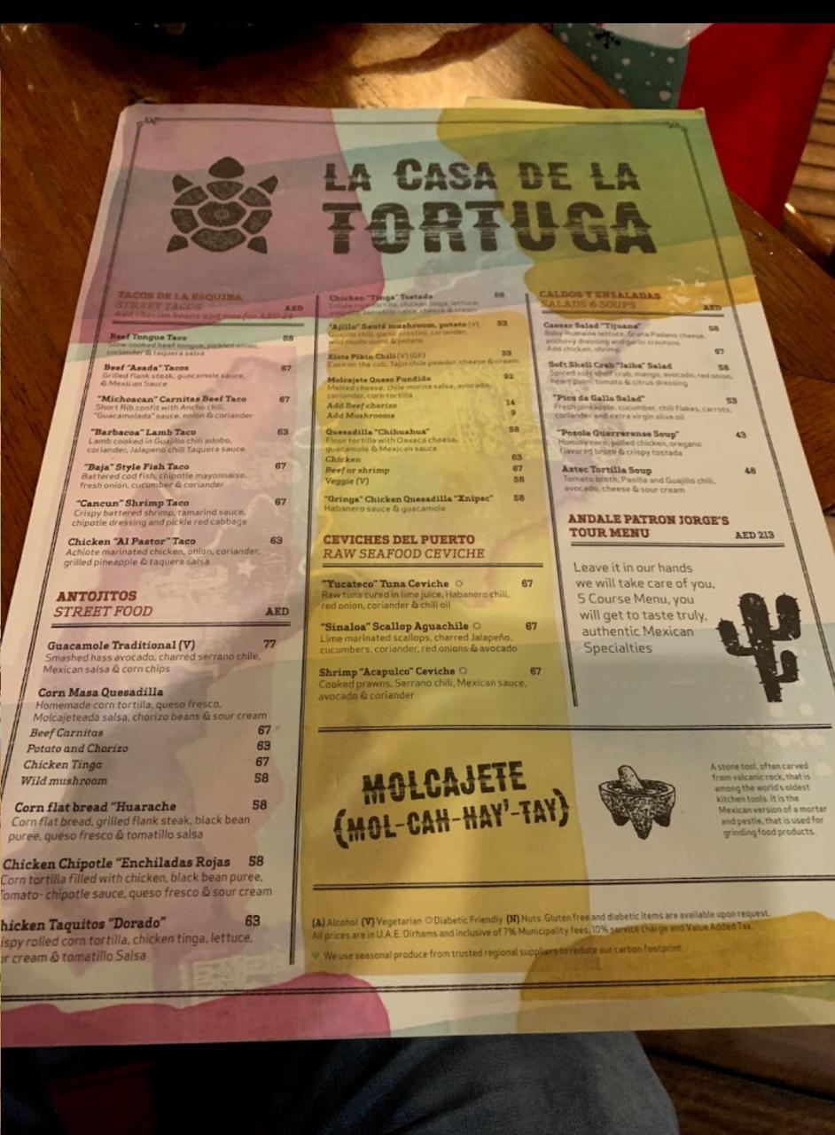 Tortuga resturant menu