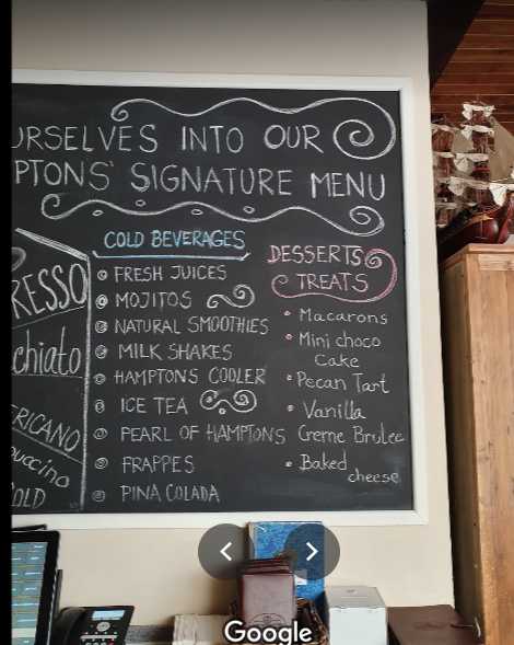 منيو The Hamptons Cafe